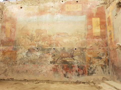 atractii turistice Pompei case care pastreaza fresca de vanatoare