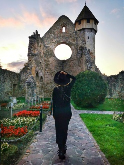 rozetă abația Cârța - o fostă fereastră polilobată cu geamuri multicolore