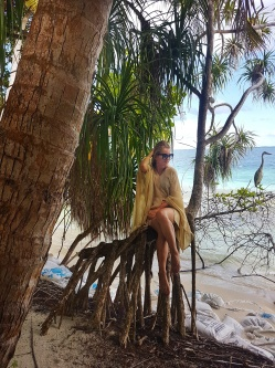 luxuriant vegetation and heron bird Maldives
